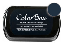 "Purchase a vibrant and archival midnight  Colorbox stamp pad. Over 30 colors available!  Non-toxic, archival, acid free, permanent ink pad.  Inked area measures 1 3/4"" x 2 7/8"""
