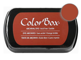"Purchase a vibrant and archival saddle  Colorbox stamp pad. Over 30 colors available!  Non-toxic, archival, acid free, permanent ink pad.  Inked area measures 1 3/4"" x 2 7/8"""