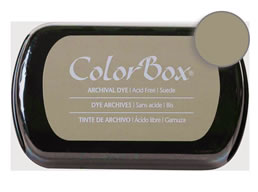 "Purchase a vibrant and archival suede Colorbox stamp pad. Over 30 colors available!  Non-toxic, archival, acid free, permanent ink pad.  Inked area measures 1 3/4"" x 2 7/8"""