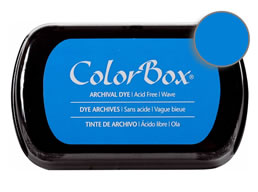 "Purchase a vibrant and archival wave  Colorbox stamp pad. Over 30 colors available!  Non-toxic, archival, acid free, permanent ink pad.  Inked area measures 1 3/4"" x 2 7/8"""