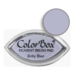 "Purchase a vibrant and creamy baby blue Colorbox stamp pad. Over 80 colors available!  Non-toxic, archival, acid free, water-soluble pigment ink.  3/4"" x 1.5"""