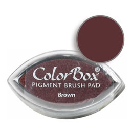 "Purchase a vibrant and creamy brown Colorbox stamp pad. Over 80 colors available!  Non-toxic, archival, acid free, water-soluble pigment ink.  3/4"" x 1.5"""