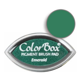 "Purchase a vibrant and creamy emerald Colorbox stamp pad. Over 80 colors available!  Non-toxic, archival, acid free, water-soluble pigment ink.  3/4"" x 1.5"""