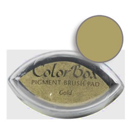 "Purchase a vibrant and creamy gold Colorbox stamp pad. Over 80 colors available!  Non-toxic, archival, acid free, water-soluble pigment ink.  3/4"" x 1.5"""