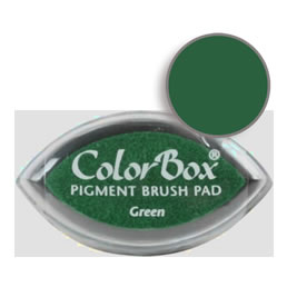 "Purchase a vibrant and creamy green Colorbox stamp pad. Over 80 colors available!  Non-toxic, archival, acid free, water-soluble pigment ink.  3/4"" x 1.5"""