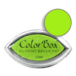 "Purchase a vibrant and creamy lime Colorbox stamp pad. Over 80 colors available!  Non-toxic, archival, acid free, water-soluble pigment ink.  3/4"" x 1.5"""