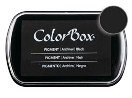 "Purchase a vibrant and creamy black Colorbox stamp pad. Over 80 colors available!  Non-toxic, archival, acid free, water-soluble pigment ink.  1.8"" x 2.9"""
