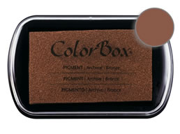 "Purchase a vibrant and creamy bronze Colorbox stamp pad. Over 80 colors available!  Non-toxic, archival, acid free, water-soluble pigment ink.  1.8"" x 2.9"""