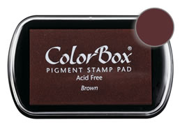 "Purchase a vibrant and creamy brown Colorbox stamp pad. Over 80 colors available!  Non-toxic, archival, acid free, water-soluble pigment ink.  1.8"" x 2.9"""