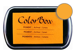 "Purchase a vibrant and creamy canary Colorbox stamp pad. Over 80 colors available!  Non-toxic, archival, acid free, water-soluble pigment ink.  1.8"" x 2.9"""