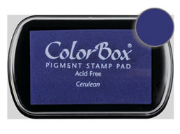 "Purchase a vibrant and creamy cerulean Colorbox stamp pad. Over 80 colors available!  Non-toxic, archival, acid free, water-soluble pigment ink.  1.8"" x 2.9"""