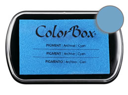 "Purchase a vibrant and creamy cyan Colorbox stamp pad. Over 80 colors available!  Non-toxic, archival, acid free, water-soluble pigment ink.  1.8"" x 2.9"""