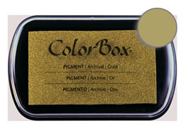 "Purchase a vibrant and creamy gold Colorbox stamp pad. Over 80 colors available!  Non-toxic, archival, acid free, water-soluble pigment ink.  1.8"" x 2.9"""