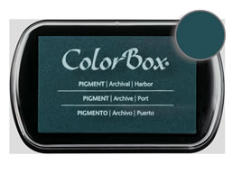 "Purchase a vibrant and creamy harbor Colorbox stamp pad. Over 80 colors available!  Non-toxic, archival, acid free, water-soluble pigment ink.  1.8"" x 2.9"""