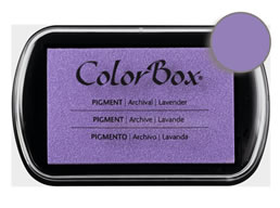 "Purchase a vibrant and creamy lavender Colorbox stamp pad. Over 80 colors available!  Non-toxic, archival, acid free, water-soluble pigment ink.  1.8"" x 2.9"""