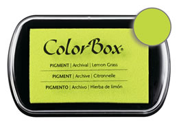 "Purchase a vibrant and creamy lemon grass Colorbox stamp pad. Over 80 colors available!  Non-toxic, archival, acid free, water-soluble pigment ink.  1.8"" x 2.9"""