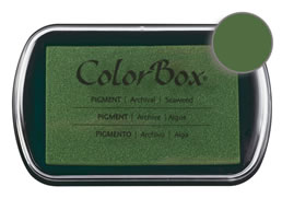 "Purchase a vibrant and creamy seaweed Colorbox stamp pad. Over 80 colors available!  Non-toxic, archival, acid free, water-soluble pigment ink.  1.8"" x 2.9"""