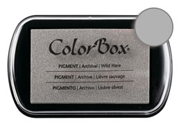 "Purchase a vibrant and creamy wild hare Colorbox stamp pad. Over 80 colors available!  Non-toxic, archival, acid free, water-soluble pigment ink.  1.8"" x 2.9"""
