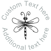 Round Name Stamp with Dragonfly