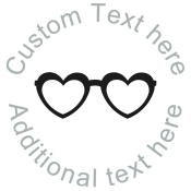 Round Name Stamp with Heart-Shaped Glasses