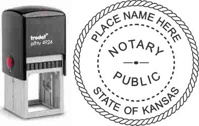 Customize and order a self-inking notary rubber stamp for the state of Kansas.  Meets all specifications and requirements for Kansas notary stamps. No minimums, fast turnaround, quality guaranteed.