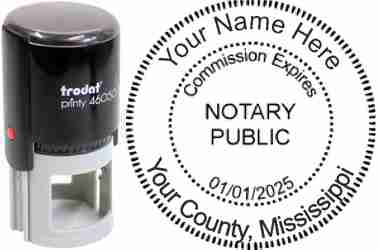 Customize and order a self-inking notary rubber stamp for the state of Vermont.  Meets all specifications and requirements for Mississippi notary stamps. No minimums, fast turnaround, quality guaranteed.