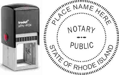 Customize and order a self-inking notary rubber stamp for the state of Rhode Island.  Meets all specifications and requirements for Rhode Island notary stamps. No minimums, fast turnaround, quality guaranteed.