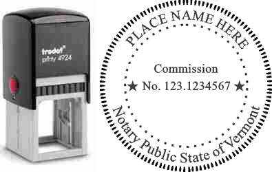 Customize and order a self-inking notary rubber stamp for the state of Vermont.  Meets all specifications and requirements for Vermont notary stamps. No minimums, fast turnaround, quality guaranteed.