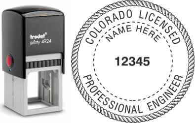 Customize and order a Colorado PE stamp online! Personalize, preview instantly, meets all requirements for Colorado professional engineers, self-inking stamp with ink refills available. No minimums, fast turnaround, quality guaranteed.