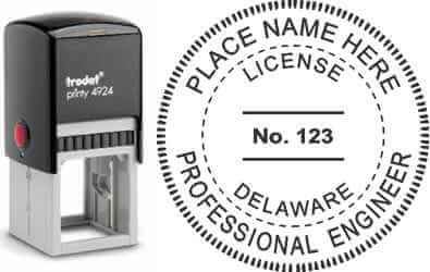 Customize and order a Delware PE stamp online! Personalize, preview instantly, meets all requirements for Delaware professional engineers, self-inking stamp with ink refills available. No minimums, fast turnaround, quality guaranteed.