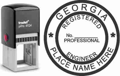 Customize and order a Georgia PE stamp online! Personalize, preview instantly, meets all requirements for Georgia professional engineers, self-inking stamp with ink refills available. No minimums, fast turnaround, quality guaranteed.