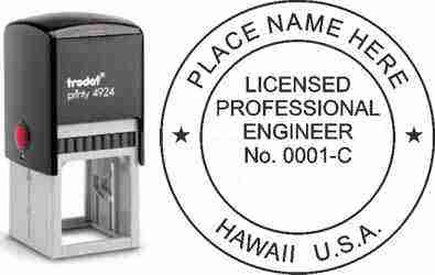 Customize and order a Hawaii PE stamp online! Personalize, preview instantly, meets all requirements for Hawaii professional engineers, self-inking stamp with ink refills available. No minimums, fast turnaround, quality guaranteed.
