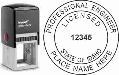 Customize and order an Idaho PE stamp online! Personalize, preview instantly, meets all requirements for Idaho professional engineers, self-inking stamp with ink refills available. No minimums, fast turnaround, quality guaranteed.
