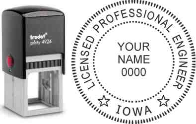 Customize and order an Iowa PE stamp online! Personalize, preview instantly, meets all requirements for Iowa professional engineers, self-inking stamp with ink refills available. No minimums, fast turnaround, quality guaranteed.