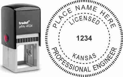 Customize and order a Kansas PE stamp online! Personalize, preview instantly, meets all requirements for Kansas professional engineers, self-inking stamp with ink refills available. No minimums, fast turnaround, quality guaranteed.