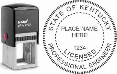 Customize and order a Kentucky PE stamp online! Personalize, preview instantly, meets all requirements for Kentucky professional engineers, self-inking stamp with ink refills available. No minimums, fast turnaround, quality guaranteed.