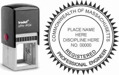 Customize and order a Massachusetts PE stamp online! Personalize, preview instantly, meets all requirements for Massachusetts professional engineers, self-inking stamp with ink refills available. No minimums, fast turnaround, quality guaranteed.