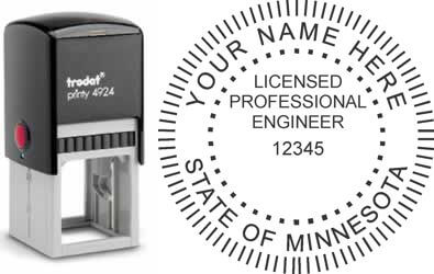 Customize and order a Minnesota PE stamp online! Personalize, preview instantly, meets all requirements for Minnesota professional engineers, self-inking stamp with ink refills available. No minimums, fast turnaround, quality guaranteed.
