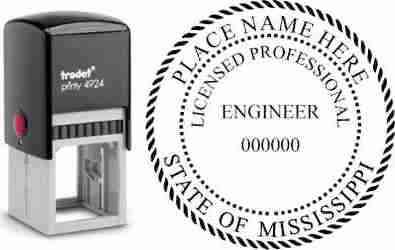 Customize and order a Mississippi PE stamp online! Personalize, preview instantly, meets all requirements for Mississippi professional engineers, self-inking stamp with ink refills available. No minimums, fast turnaround, quality guaranteed.
