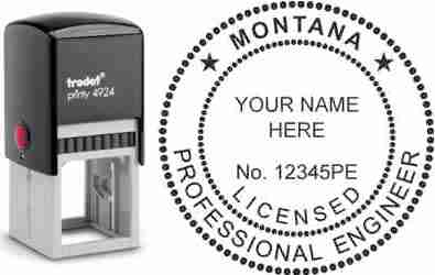 Customize and order a Montana PE stamp online! Personalize, preview instantly, meets all requirements for Montana professional engineers, self-inking stamp with ink refills available. No minimums, fast turnaround, quality guaranteed.