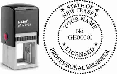 Customize and order a New Jersey PE stamp online! Personalize, preview instantly, meets all requirements for New Jersey professional engineers, self-inking stamp with ink refills available. No minimums, fast turnaround, quality guaranteed.