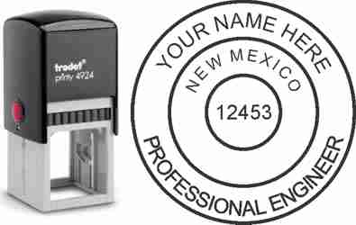 Customize and order a New Mexico PE stamp online! Personalize, preview instantly, meets all requirements for New Mexico professional engineers, self-inking stamp with ink refills available. No minimums, fast turnaround, quality guaranteed.