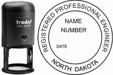 Customize and order a North Dakota PE stamp online! Personalize, preview instantly, meets all requirements for North Dakota professional engineers, self-inking stamp with ink refills available. No minimums, fast turnaround, quality guaranteed.