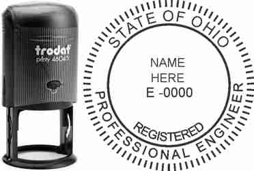 Customize and order an Ohio PE stamp online! Personalize, preview instantly, meets all requirements for Ohio professional engineers, self-inking stamp with ink refills available. No minimums, fast turnaround, quality guaranteed.