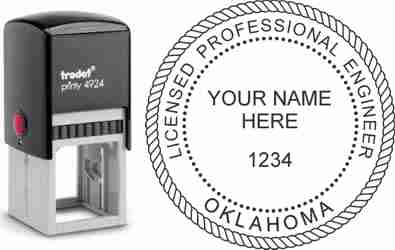 Customize and order a Oklahoma PE stamp online! Personalize, preview instantly, meets all requirements for Oklahoma professional engineers, self-inking stamp with ink refills available. No minimums, fast turnaround, quality guaranteed.