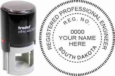 Customize and order a South Dakota PE stamp online! Personalize, preview instantly, meets all requirements for South Dakota professional engineers, self-inking stamp with ink refills available. No minimums, fast turnaround, quality guaranteed.