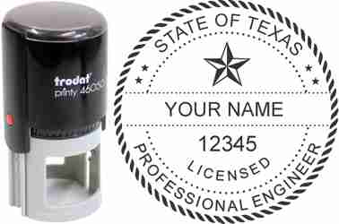 Customize and order a Texas PE stamp online! Personalize, preview instantly, meets all requirements for Texas professional engineers, self-inking stamp with ink refills available. No minimums, fast turnaround, quality guaranteed.