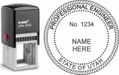Customize and order a Utah PE stamp online! Personalize, preview instantly, meets all requirements for Utah professional engineers, self-inking stamp with ink refills available. No minimums, fast turnaround, quality guaranteed.