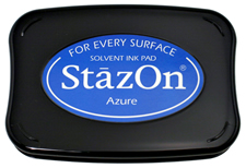 Buy a azure StazOn stamp pad, which features a permanent, quick-drying ink designed for non-porous surfaces.