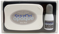 Buy a StazOn stamp pad and refill bottle of opaque baby blue ink, which feature a permanent, quick-drying ink designed for non-porous surfaces.